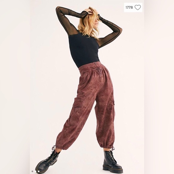 🌟 FREE PEOPLE FLY AWAY PRINTED PARACHUTE PANTS 🌟